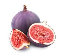Fresh fig fruit and half isolated on white background