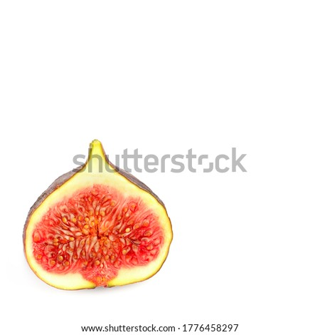Fresh fig. Fruit isolated on white background. Free space for text.