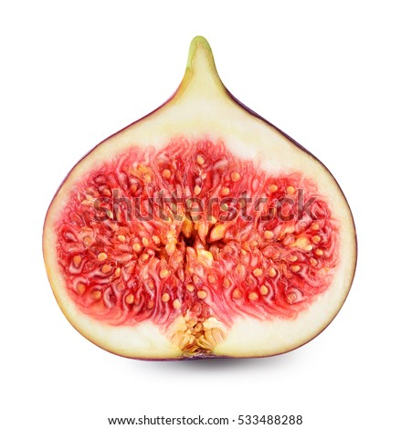 Fresh fig. Half of fruit isolated on white background. With clipping path.