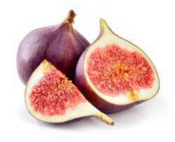 Fresh figs. Fruit with half and quarter isolated on white background.