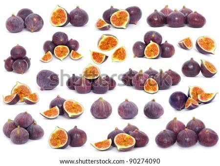 Fresh figs isolated on white - stock photo