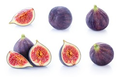 Fresh figs isolated on white background. Collection.