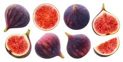 Fresh figs isolated on white background with clipping path, whole and half fruits collection