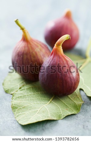 Fresh figs on figs leaves #1393782656