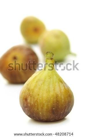 Fresh figs on white - stock photo