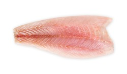 Fresh fillet of sea bass on a white background