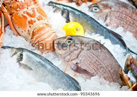Fresh fish and seafood arrangement displayed on the market.Close-up