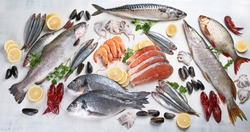 Fresh fish and seafood. Healthy eating concept. Top view