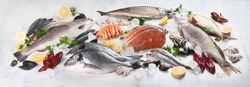 Fresh fish and seafood. Healthy eating concept. Top view. Panorama