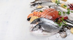 Fresh fish and seafood. Healthy eating concept. Top view with copy space