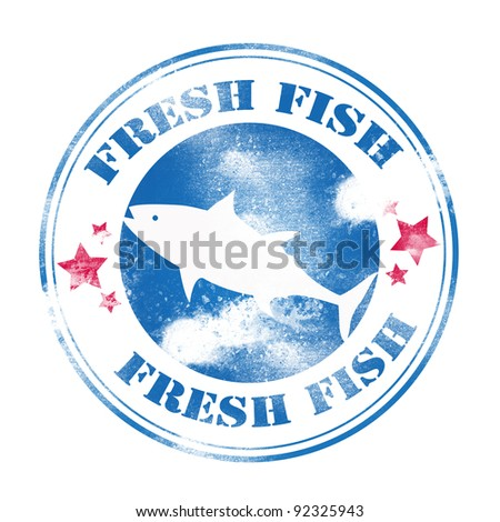 Fresh fish grunge stamp