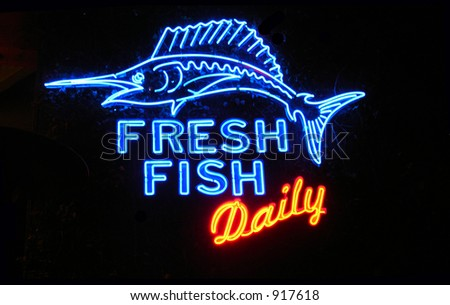 Fresh fish neon sign stock photo 917618 shutterstock for Fish neon sign