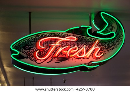 fresh fish neon sign at Seattle's Pike Place market