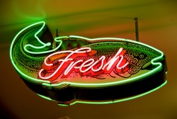 Fresh fish neon sign in Seattle, Washington