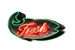 Fresh Fish neon sign,			Isolated on white