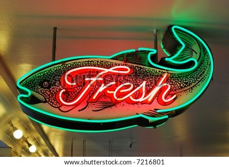 Fresh Fish Sign - stock photo