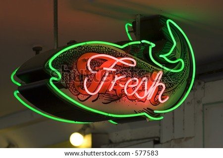 Fresh fish sign in Seattle's Pike place market