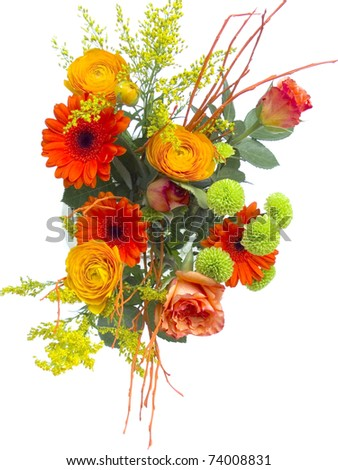 fresh flower bouquet isolated on white background