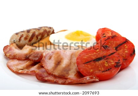 Fresh food, full fried english breakfast, single bacon burger close up over white with copy space.