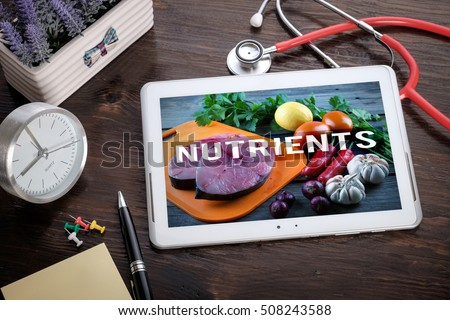 Shutterstock Fresh Food Ingredients & the word Nutrients on screen tablet pc, health concept. Information technology and mobile application in healthcare/medical.