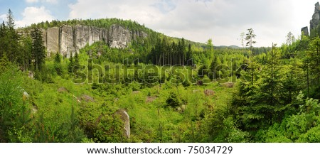 Fresh forest panorama with group of big rocks