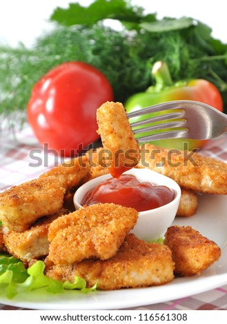 Fresh fragrant fried chicken nuggets