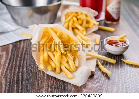 Fresh fried french fries #520460605