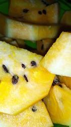 fresh from refridgerator yellow watermelon fruit