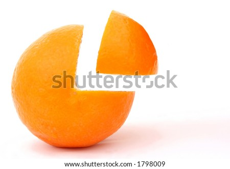 Fresh fruit, a tropical orange macro closeup, isolated on white, close-up with copyspace