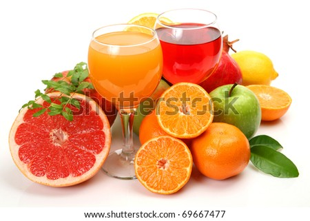 Fresh fruit and juice - stock photo