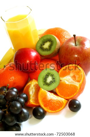 fresh fruit and juice isolated on white