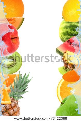 Fresh fruit and splash isolated on white