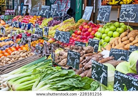 Fresh fruit and vegetables on market