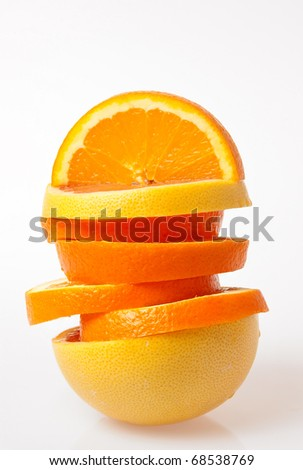Fresh fruit arrangement, orange and grapefruit slices