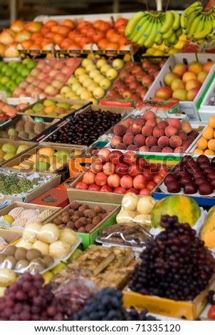 Fresh fruit, colourfully displayed at a market in Dubai, United Arab Emirates