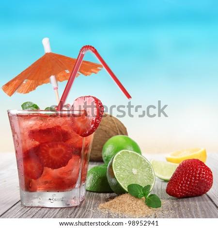 Fresh fruit drink on a beach