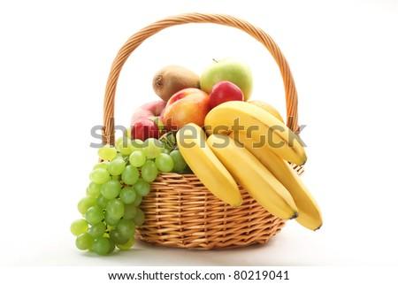 Fresh fruit in the basket - stock photo