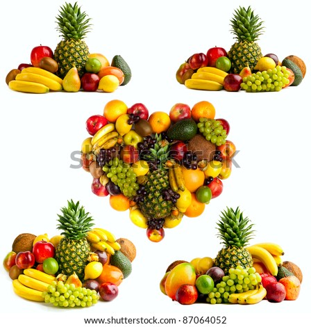 Fresh fruit isolated on a white . Set of different fresh fruits