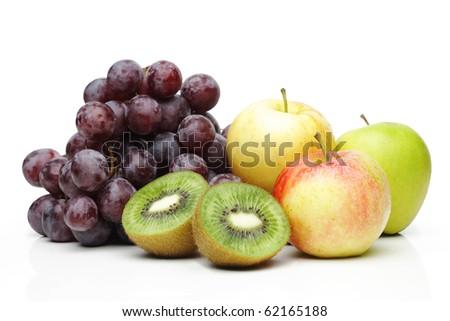 Fresh fruit, isolated on white