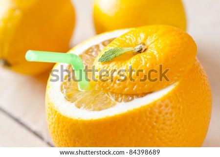 fresh fruit juice with drinking straw