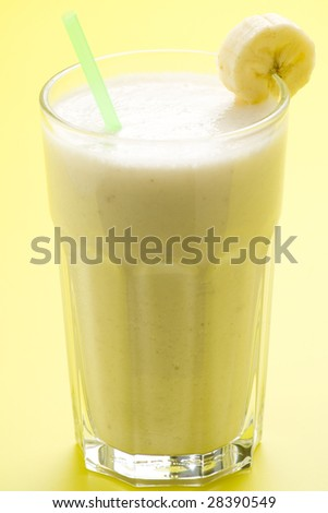 fresh fruit milk shake banana and caramel isolated