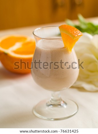 Fresh fruit milk shakes close up shoot