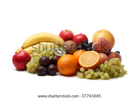 Fresh fruit on a white background.