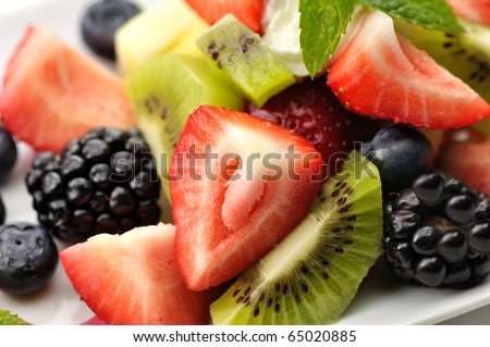 fresh fruit salad close up