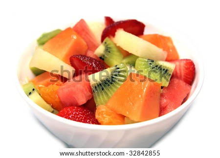 stock photo : Fresh Fruit Salad in the bowl