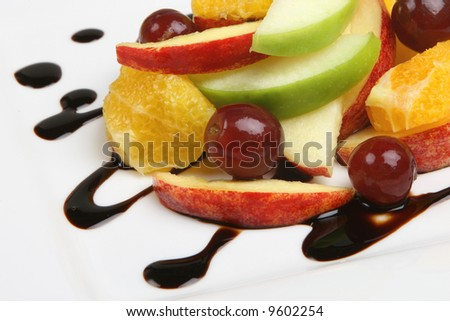 Fresh Fruit Salad on a white plate