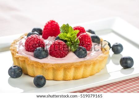 Fresh fruit tart with berries Stock fotó ©