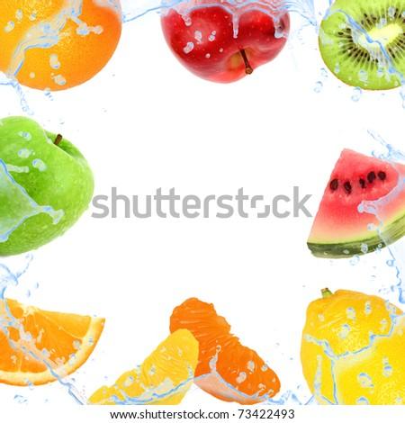 Fresh fruit with splash isolated on white