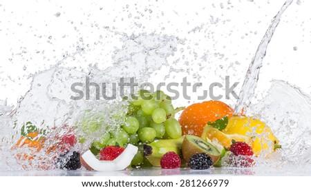 Fresh fruit with water splash on white background