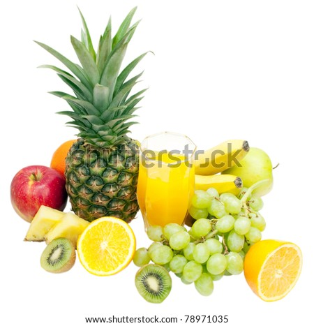 fresh fruits and glass of juice isolated on white background
